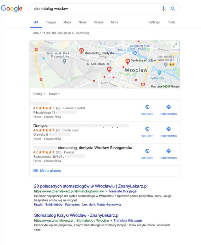 wizytówki google profil google moja firma