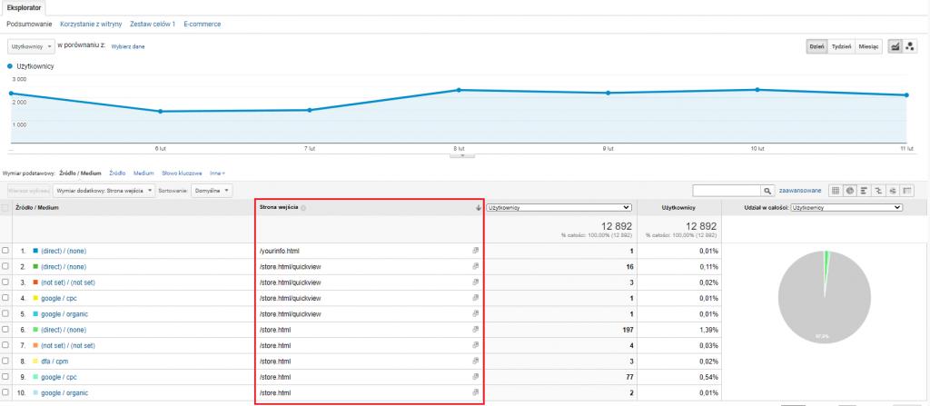 Strona wejścia w Google Analytics