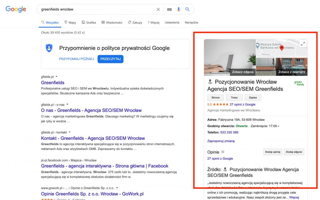 wyswietlenia-wizytowk google moja firma
