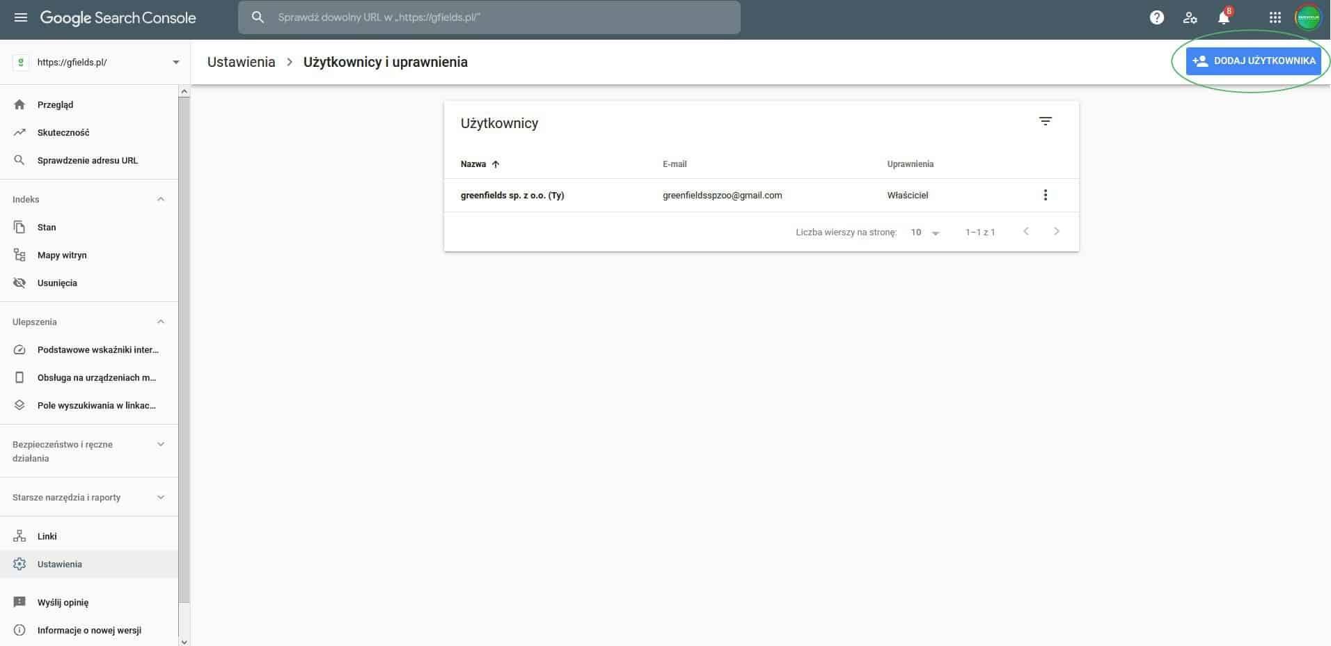 pasek dodaj użytkowników w google search console