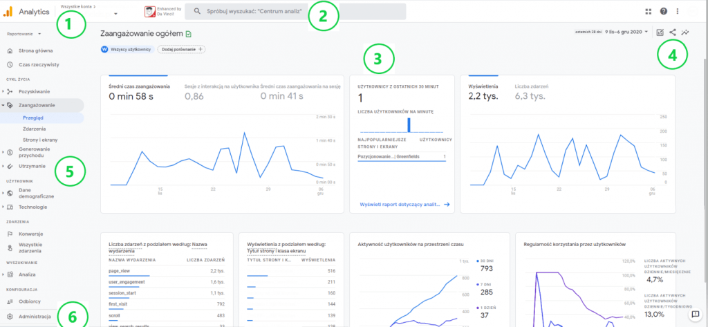 interfejs Google Analytics 4
