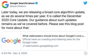 wpis o google december core update na twitterze