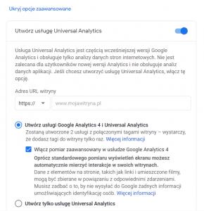 Jednoczesne tworzenie usługi universal i Google Analytics 4