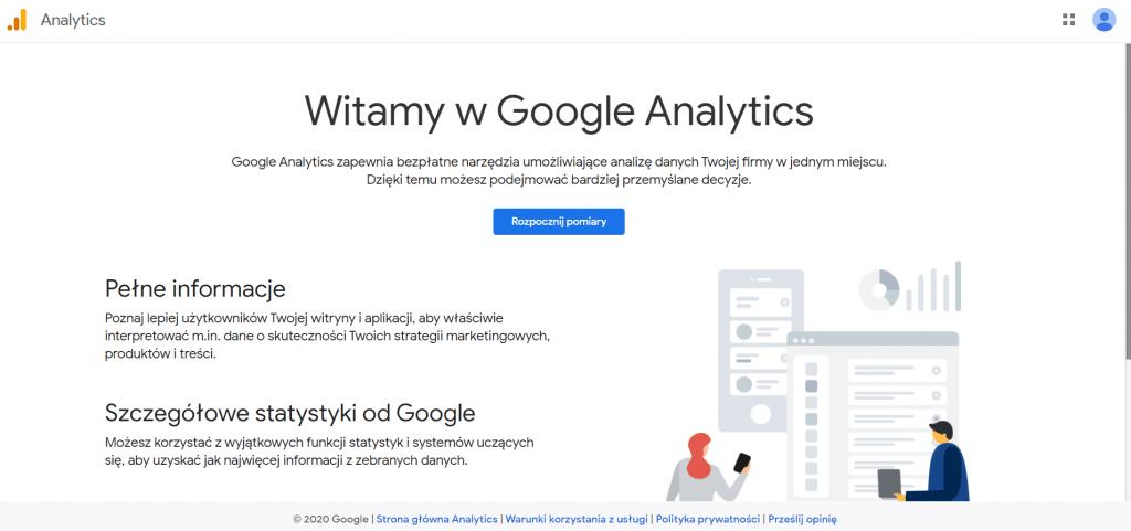 ekran początkowy przy zakładaniu konta Google Analytics 4