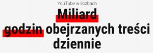 Ilość godzin obejrzanych dzeinnie w YouTube (styczeń 2021)