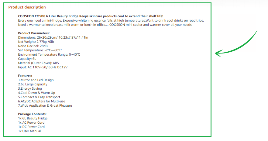 sekcja opis produktu amazon seo