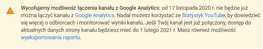 wycofanie możliwości łączenia youtube z google analytics