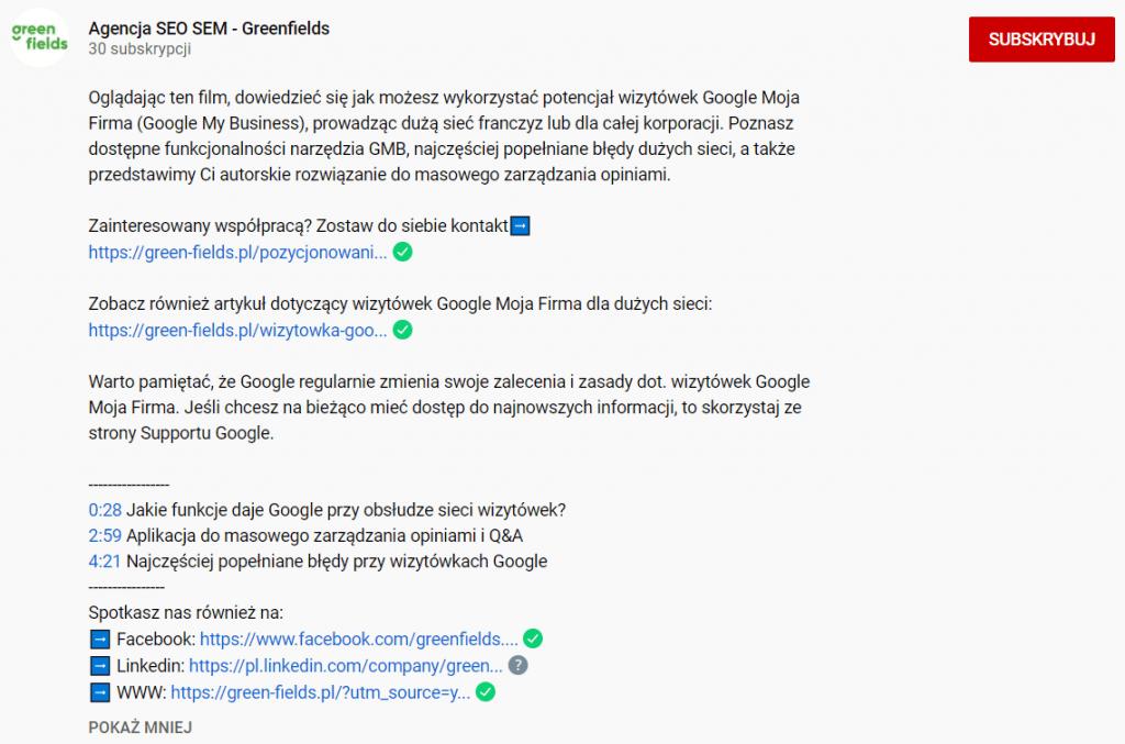 opis na youtube seo