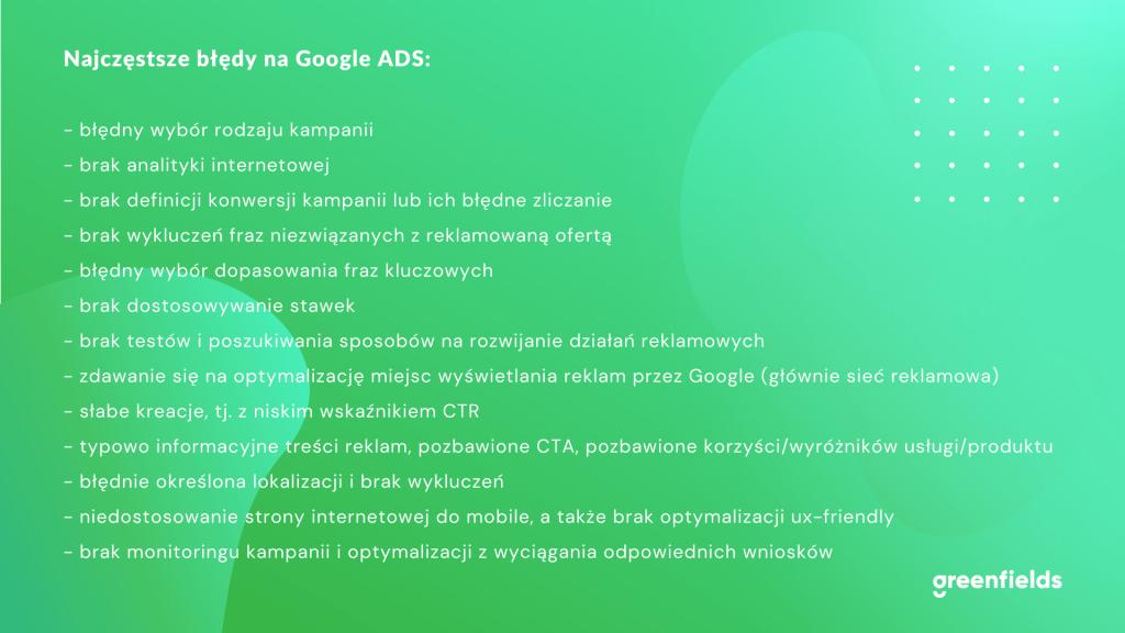 checklista najczęstsze błędy ads