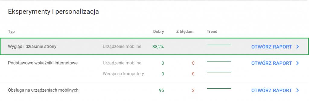 raport wygląd i działanie strony page experience report google search console