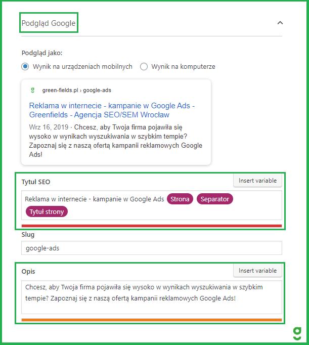 ustawienie metatagów title description w yoast seo