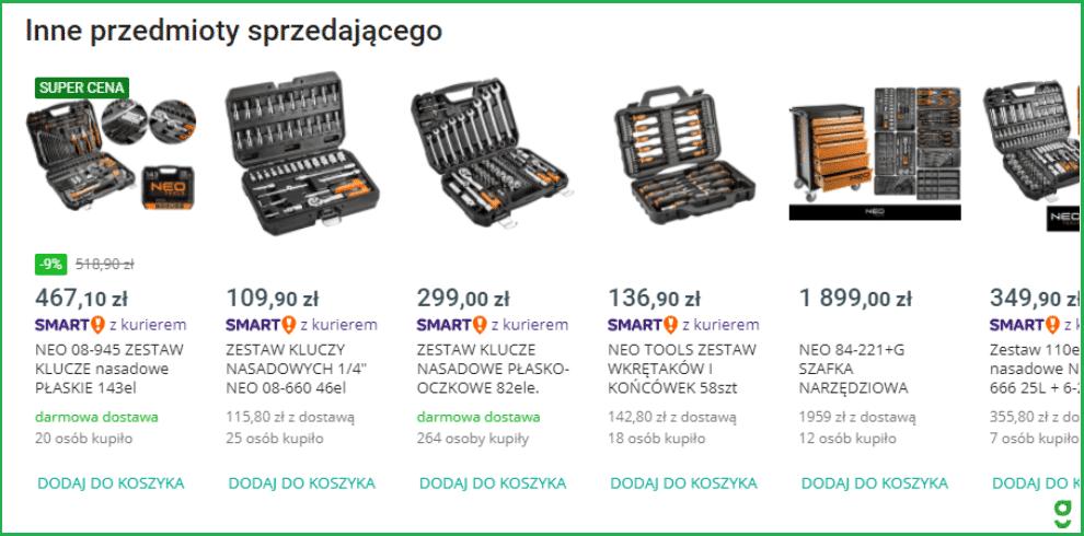 breadcrumbs nawigacja okruszkowa na allegro.pl