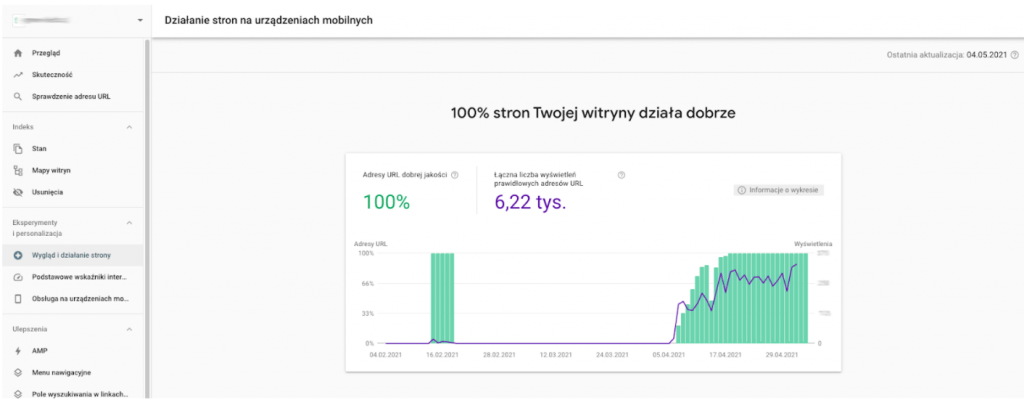 google search console działanie strony na urządzeniach mobilnych