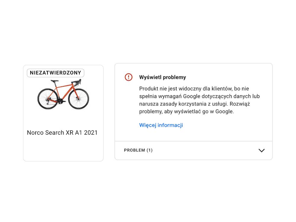 Odrzucony produkt w wizytówce Google