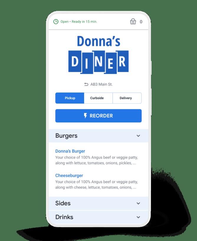 menu food ordering na wizytówkach google my business