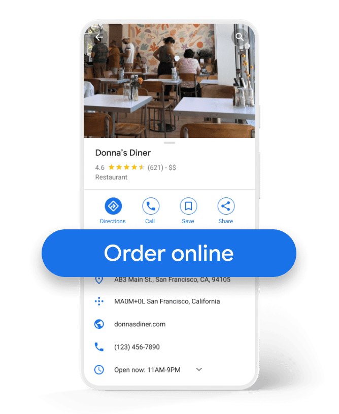 Przycisk Order online - Food Ordering GMB